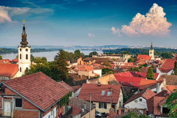View of Belgrade and Zemun in Serbia from Gardos Tower View of Belgrade and Zemun in Serbia from Gardos Tower, panorama of the Danube River with Veliko Ratno Ostrvo in the background in summer serbia stock pictures, royalty-free photos & images