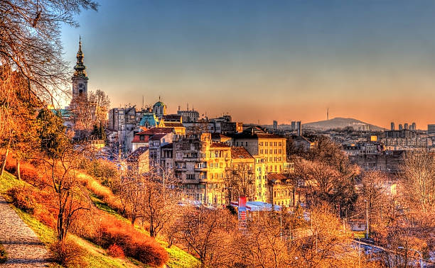 view of belgrade city center - serbia - serbia stock photos and pictures