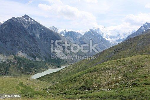 istock View of Belukha Mount and Lake Akkem from the Kara-Turek Pass, Altai Mountains, Russia 1126067897