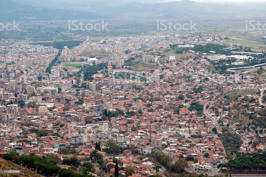 view of Bergama city in Turkey stock photo