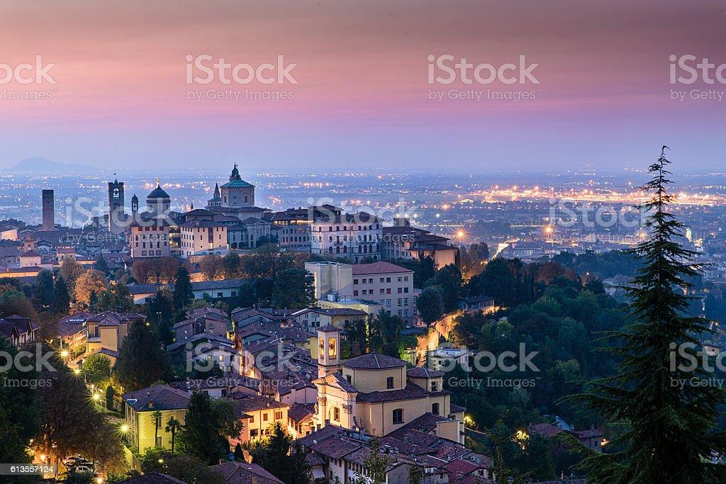 View of Bergamo high city - foto de stock
