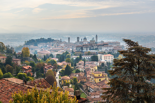 View of Bergamo Old City from Saint Vigilio hill in morning. Italy
