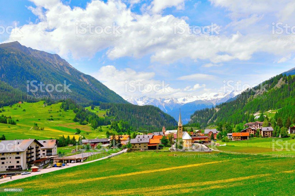 View of Bergun village. stock photo