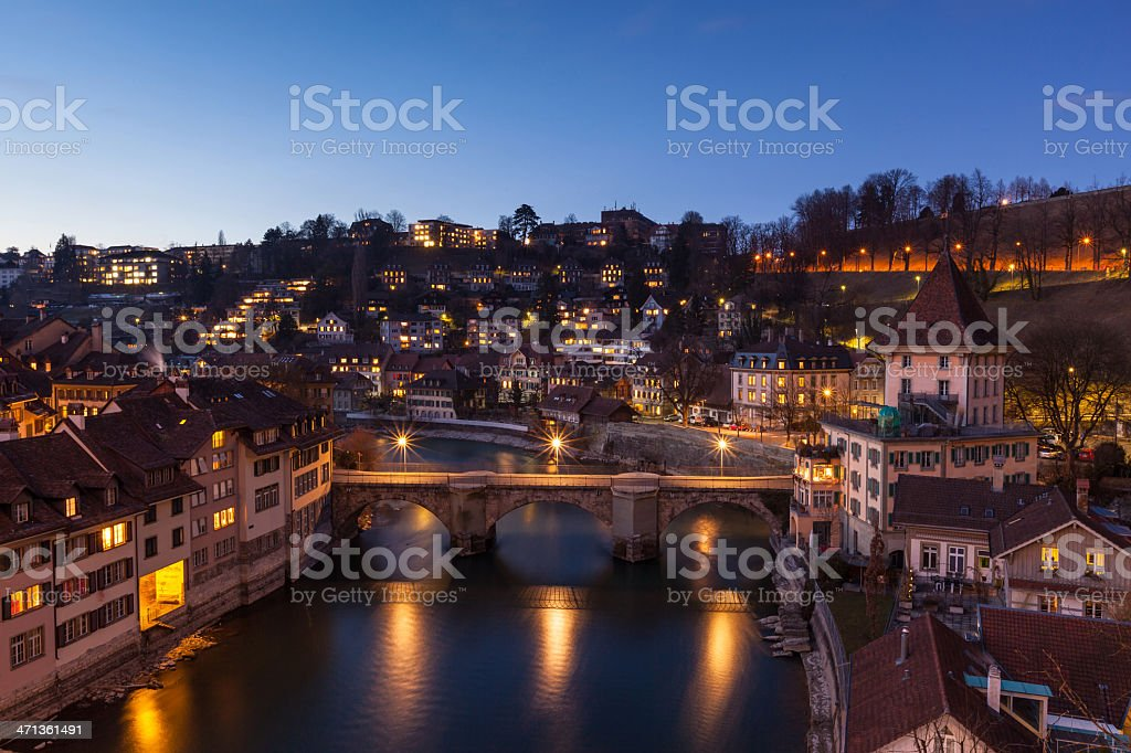 View of Bern after sunset with Aare river royalty-free stock photo