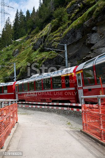 istock View of Bernina Express train passing by 1279193025