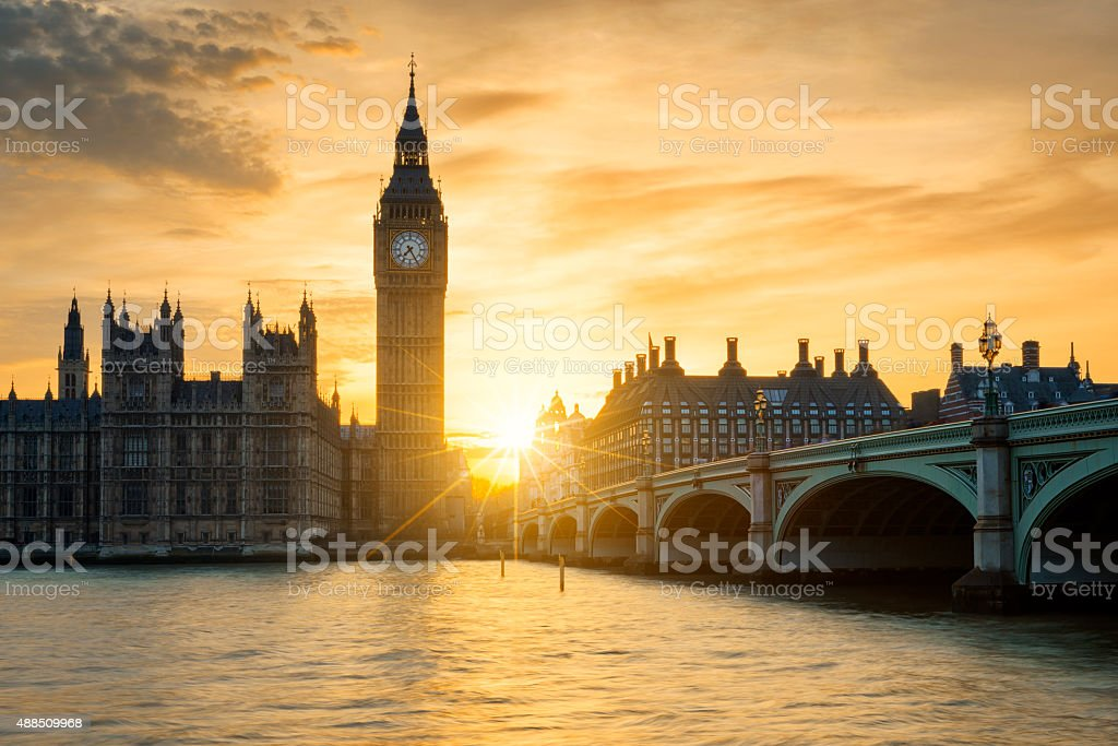 View of Big Ben clock tower at sunset stock photo