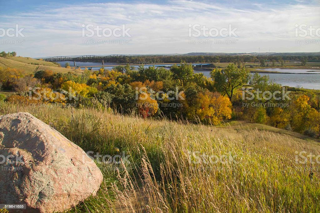 View of Bismarck in Fall stock photo