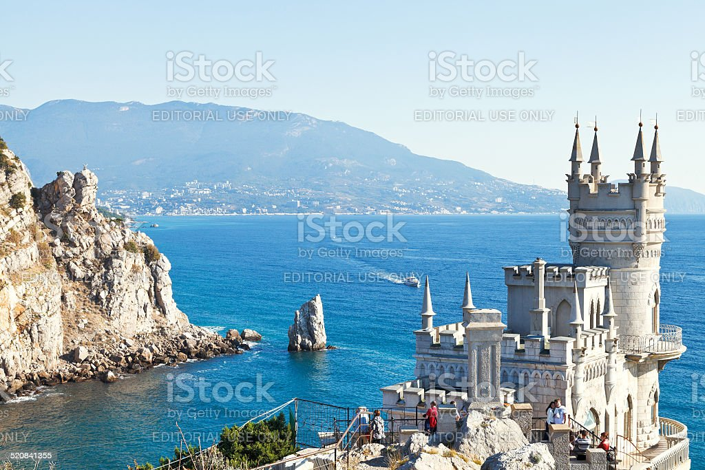 view of Black Sea coast with Swallow's Nest castle stock photo