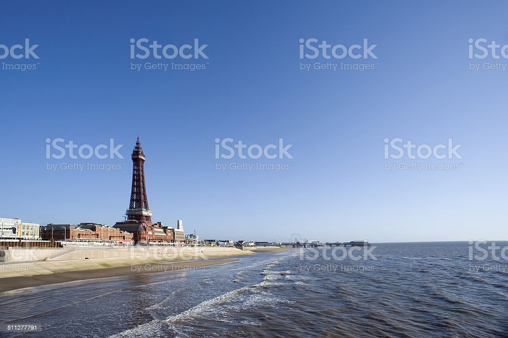 View of Blackpool beachfront stock photo