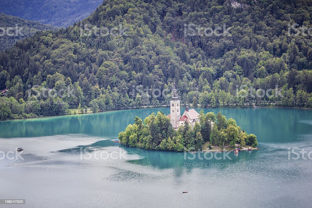 View of Bled Island from castle, Slovenia. stock photo