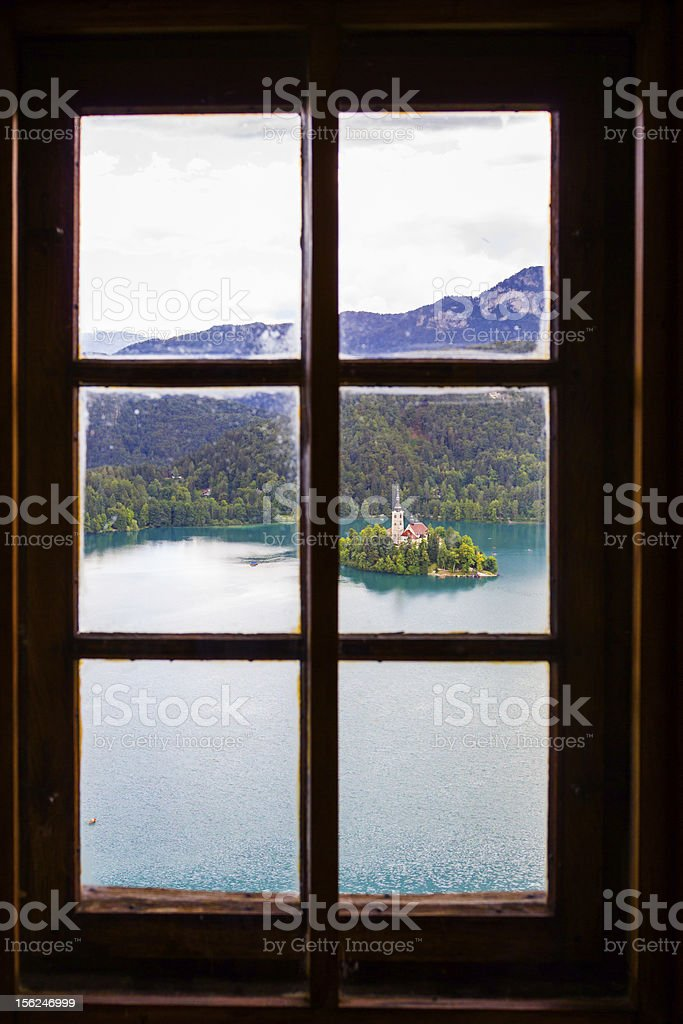 View of Bled Island from window. stock photo