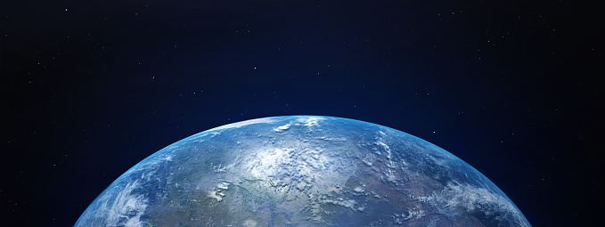 View of blue planet Earth in space with her atmosphere. 3D rendering, elements of this image furnished by NASA.