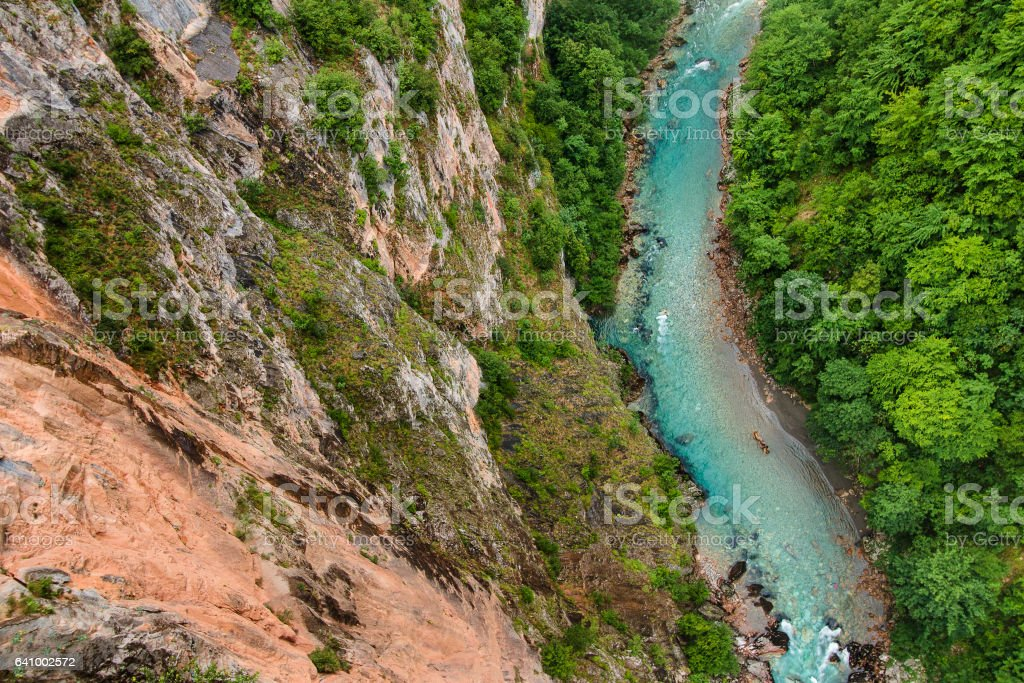 View of blue Tara river and deep canyon. Montenegro. stock photo
