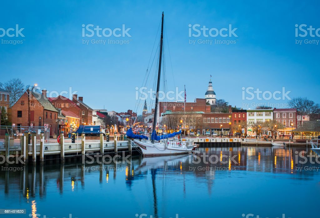 View of boats by the Annapolis Harbor and the city stock photo