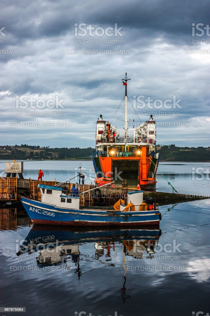 View of boats in Chiloe Island, Chile stock photo