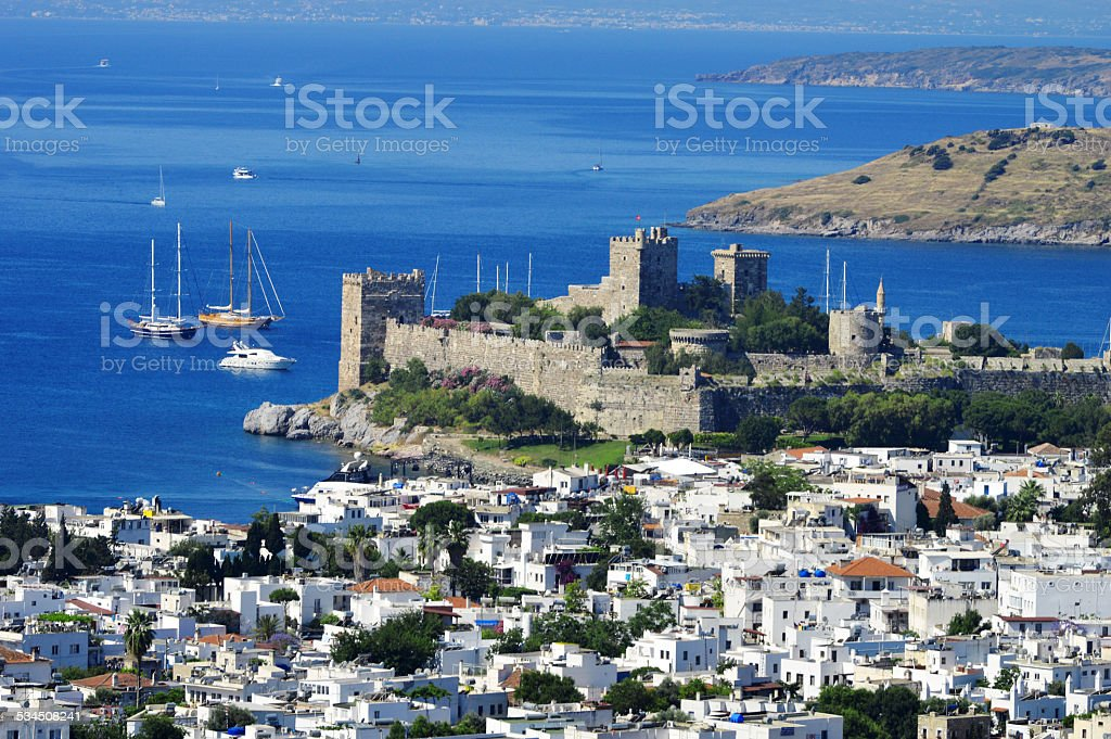 View of Bodrum harbor during hot summer day. Turkish Riviera stock photo