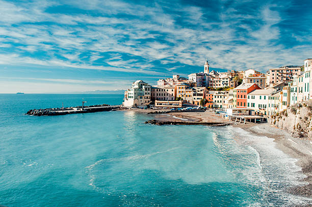 view of bogliasco, italy - mediterranean culture stock photos and pictures