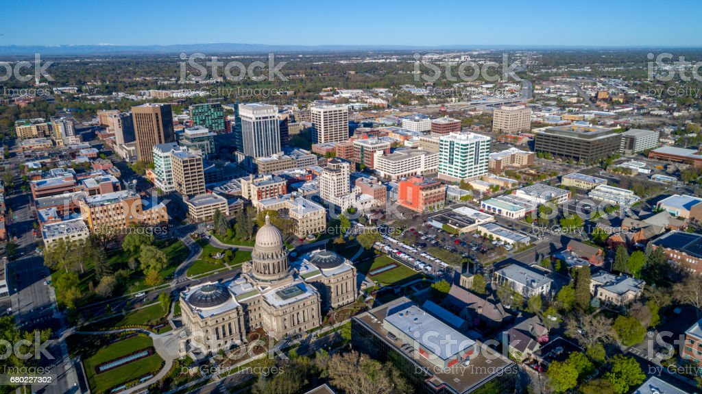 View of Boise Idaho from above with the capital stock photo