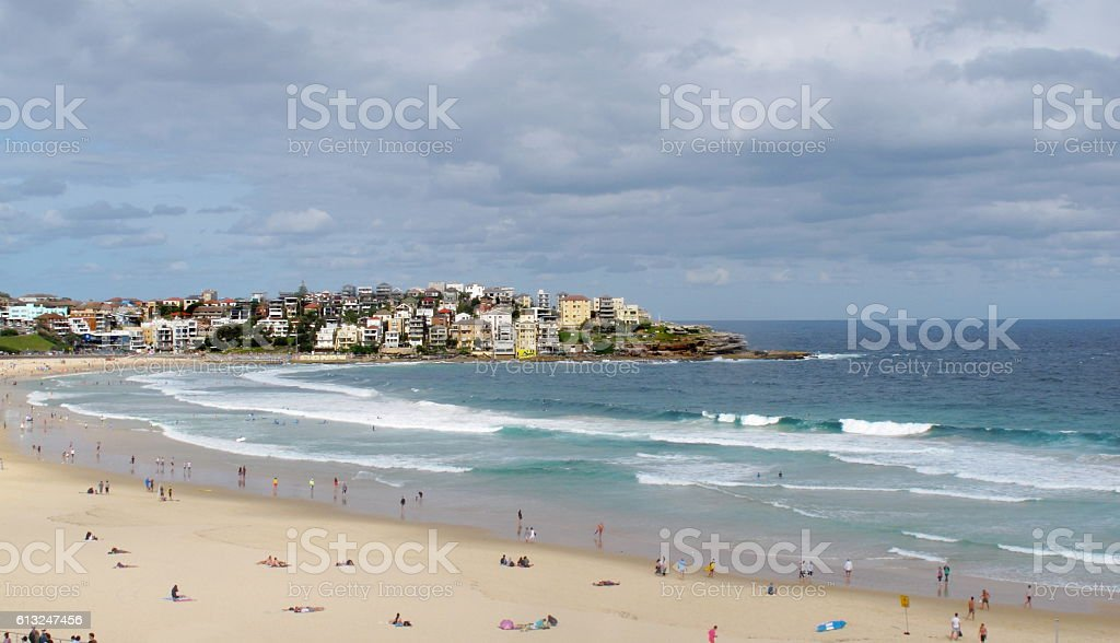 View of Bondi beach at Sydney, Australia. stock photo