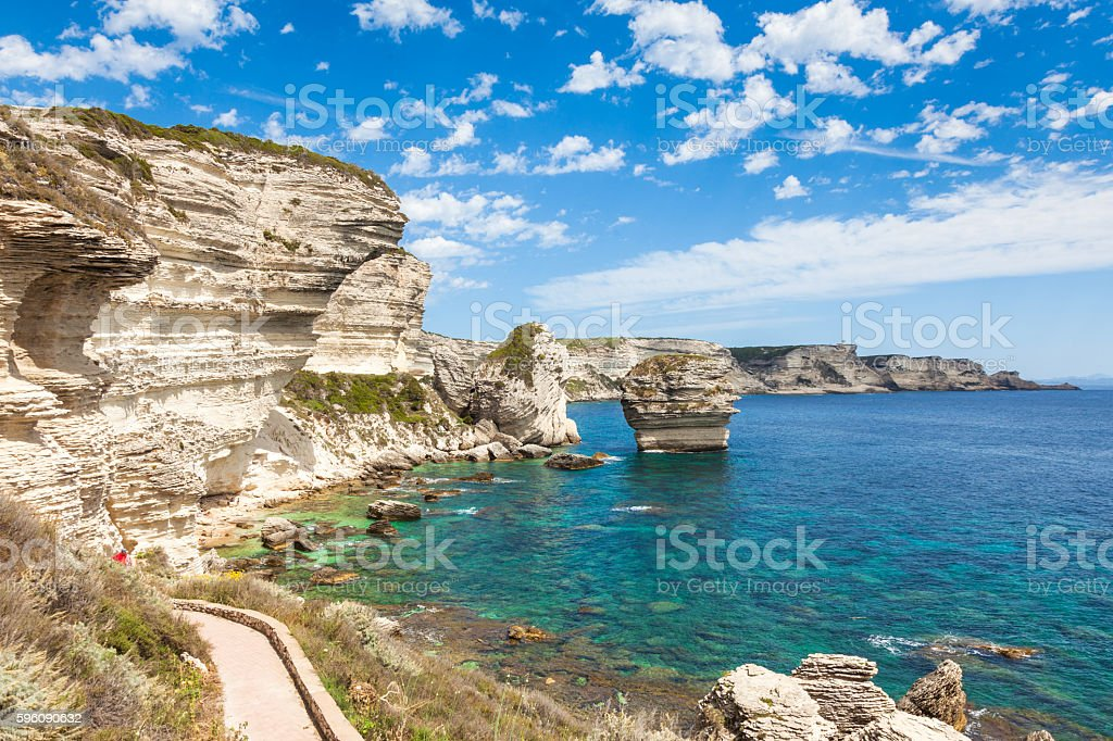 View of Bonifacio cliff coast rocks, Corsica island, France stock photo