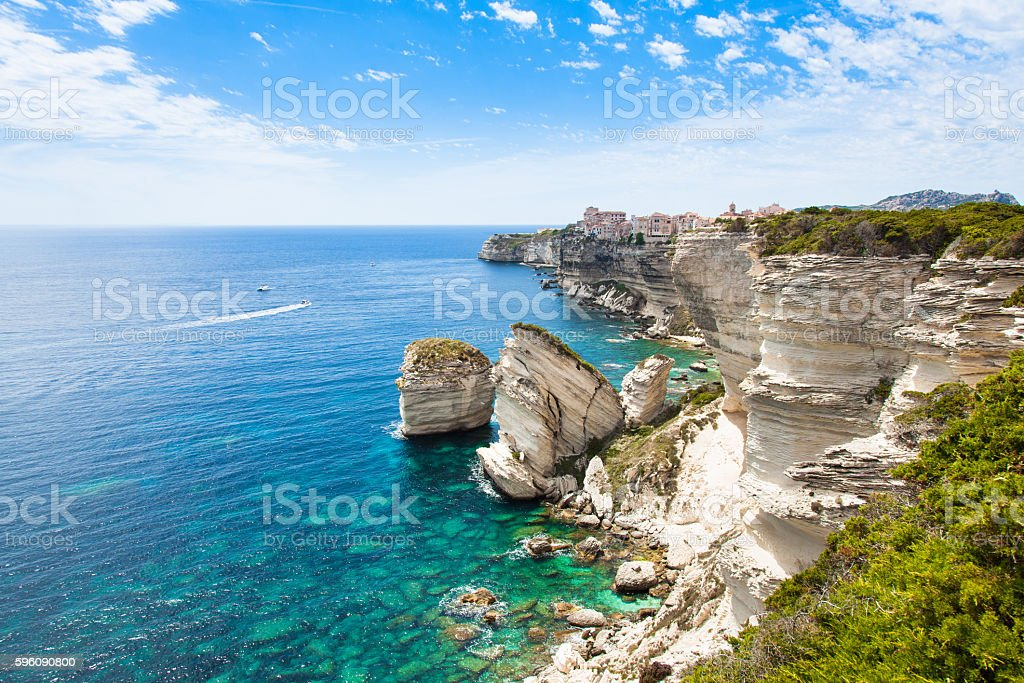 View of Bonifacio old town, Corsica, France stock photo
