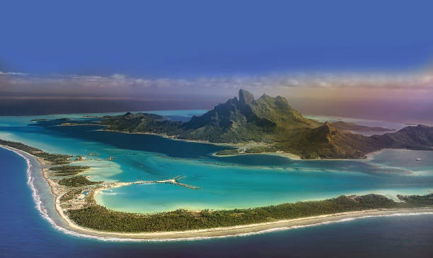 View of Bora Bora island from airplane window during landing - foto stock