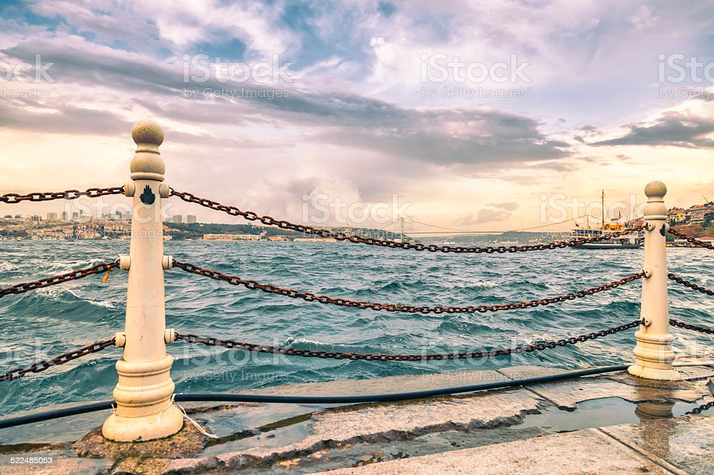 View of Bosphorus from Uskudar pier stock photo