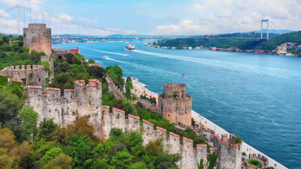 View of Bosphorus Strait and Fatih Sultan Mehmet Bridge in Istanbul stock photo