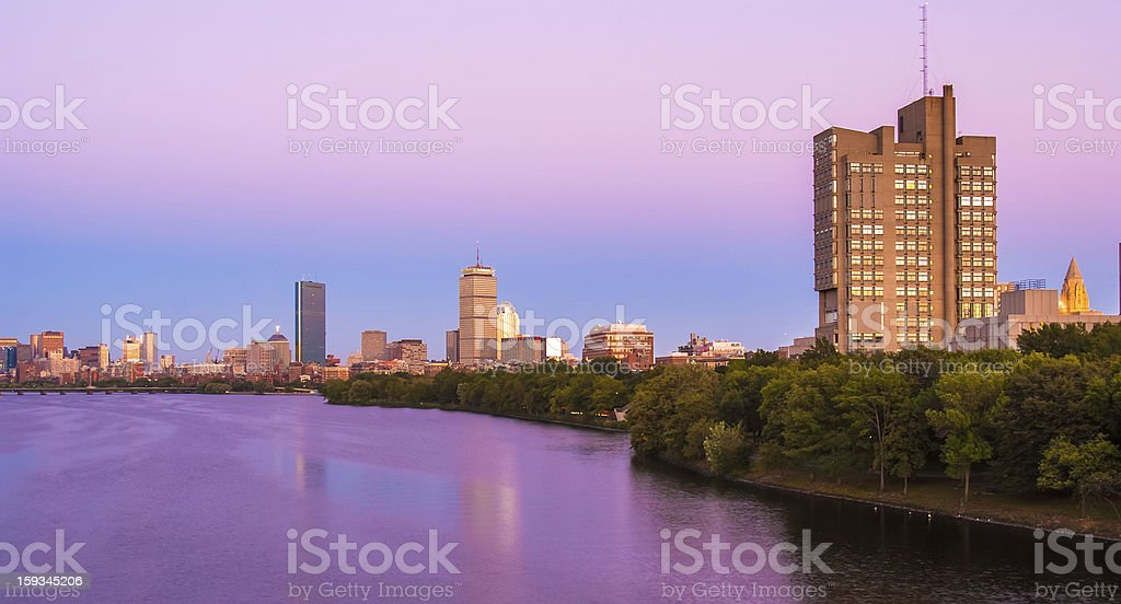 View of Boston, Cambridge, and the Charles River stock photo
