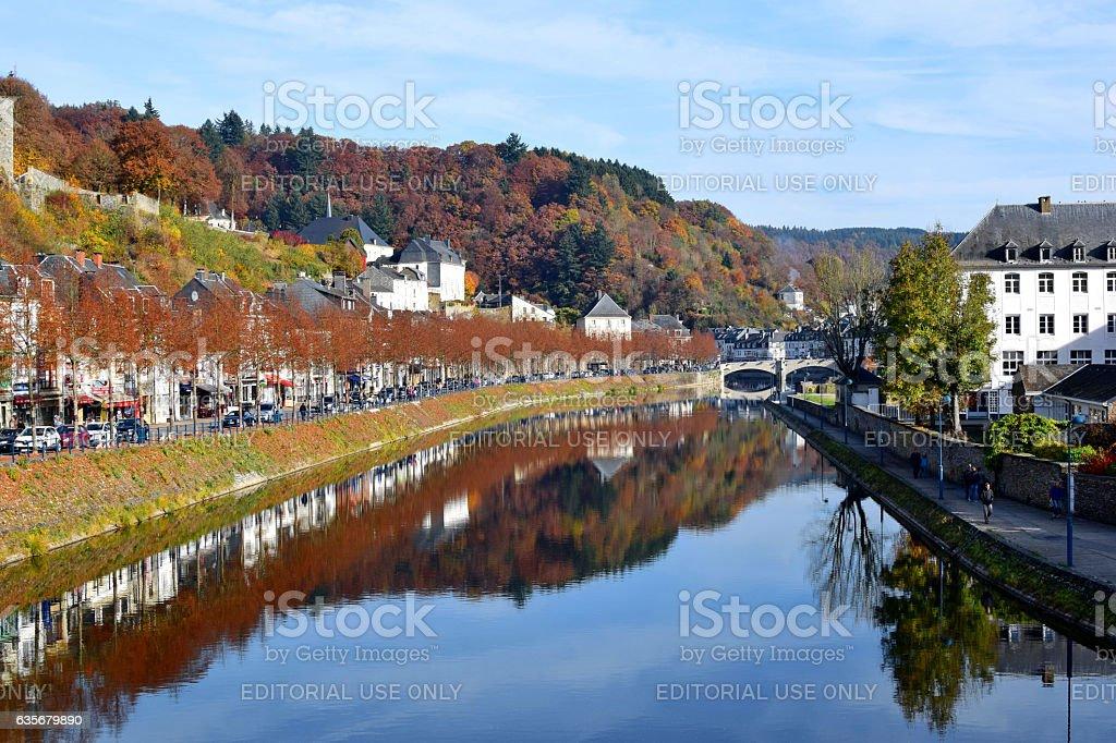 View of Bouillon, Belgian Ardennes, Semois river, autumn colors - Photo
