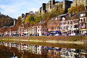 Bouillon, Belgium - November 1, 2016: View of Bouillon, Semois river, autumn colors, Ardennes, Belgium, Europe