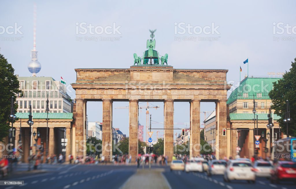 View of Brandendurg Gate, an 18th-century neoclassical monument in Berlin, Germany stock photo