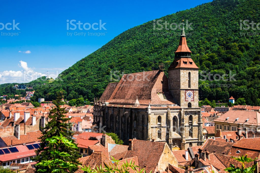 View of Brasov streets and architecture from above, Brasov, Romania stock photo