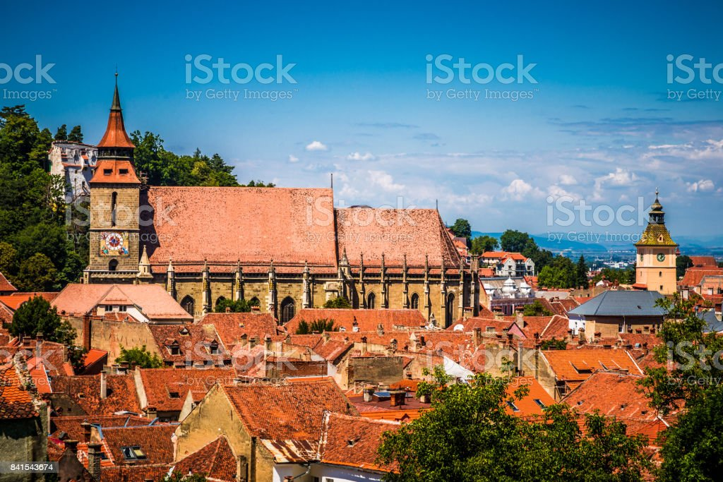 View of Brasov streets and architecture from above, Brasov, Transylvania, Romania stock photo