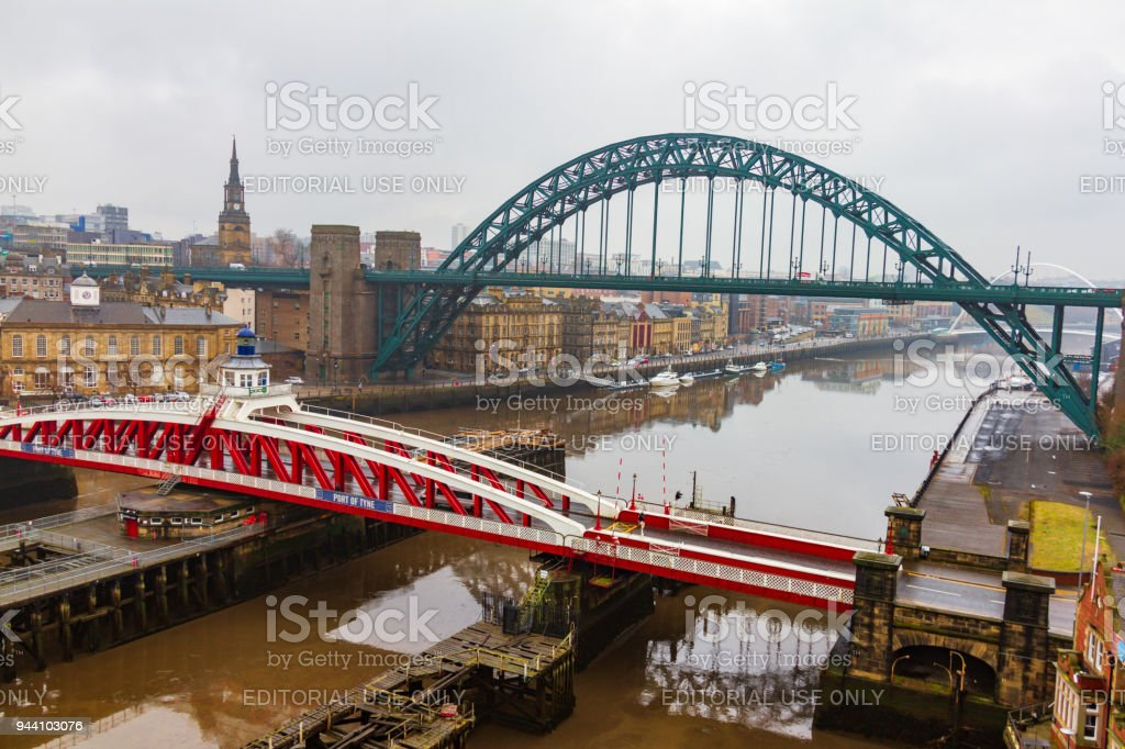 View of bridges over river Tyne at Newcastle Quayside on a cloudy day stock photo