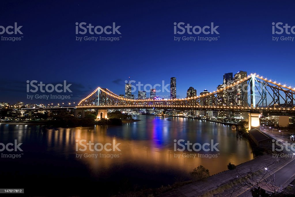 View of Brisbane and Story Bridge at night stock photo