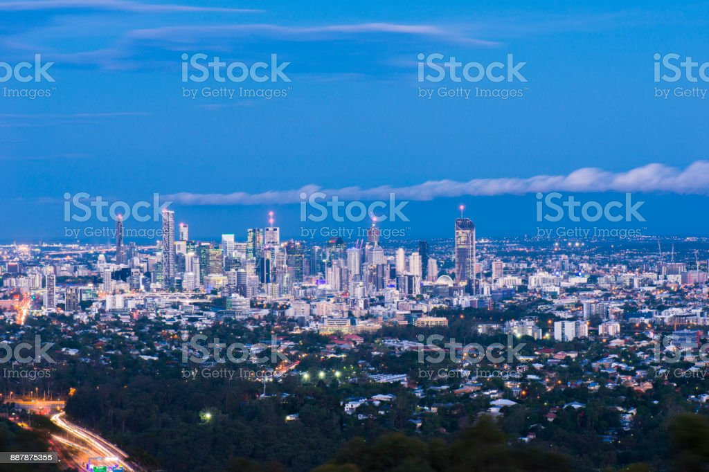 View of Brisbane and surrounding suburbs from Mount Coot-tha at night. stock photo
