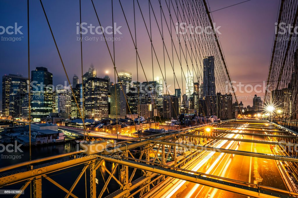View of Brooklyn Bridge at sunset stock photo