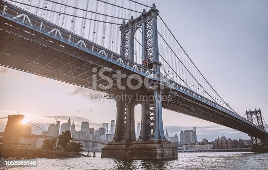 View of Brooklyn Bridge in New York,United States of America.