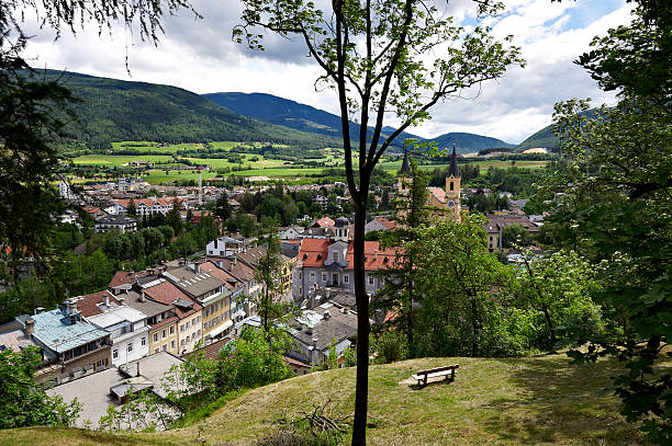 View of Bruneck (Brunico) The city of Bruneck (Brunico) in Alto Adige, Sudtirol, Italy. bruneck stock pictures, royalty-free photos & images
