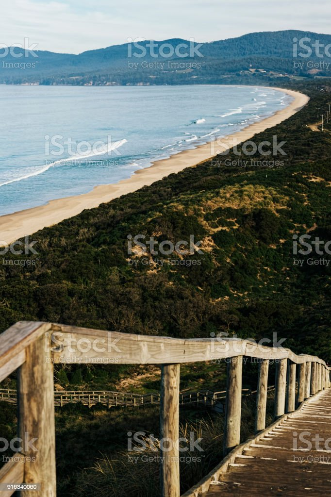 View of Bruny Island beach in the afternoon. stock photo