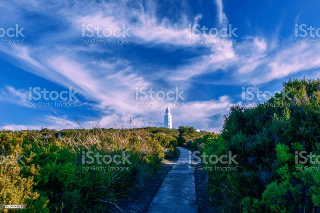 View of Bruny Island Lighthouse stock photo