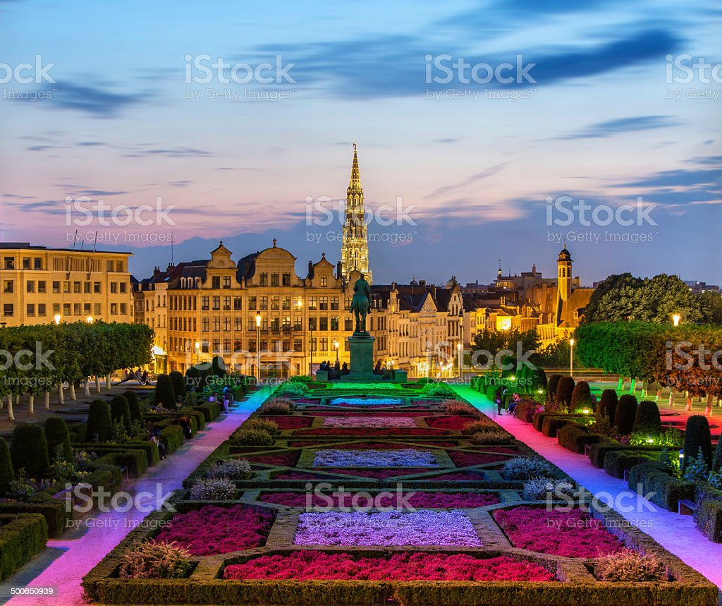 View of Brussels city center in the evening stock photo
