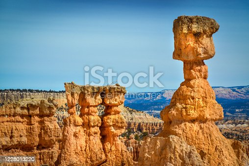View of Bryce Canyon park at the top of the mountain, Utah USA