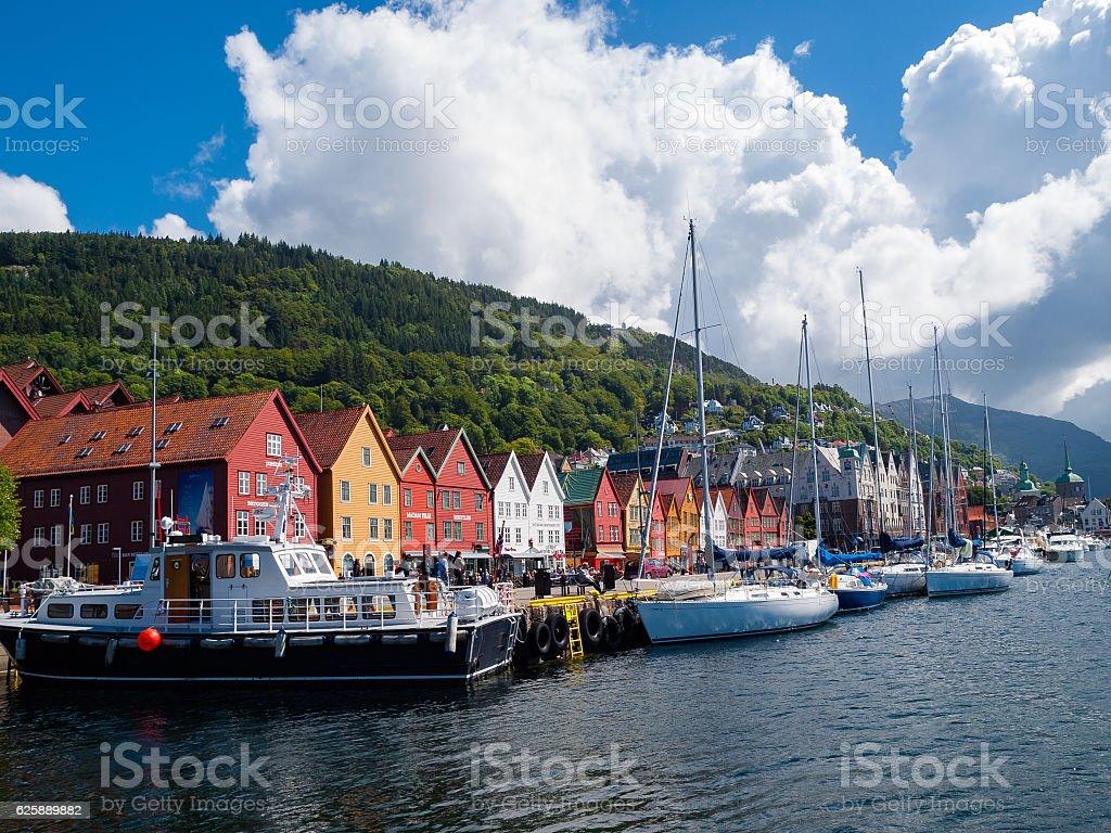 View of Bryggen in Bergen stock photo
