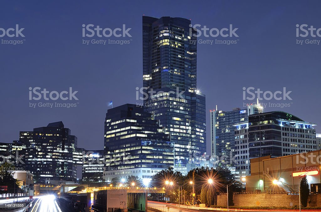 View of buck head with tall buildings during the night stock photo