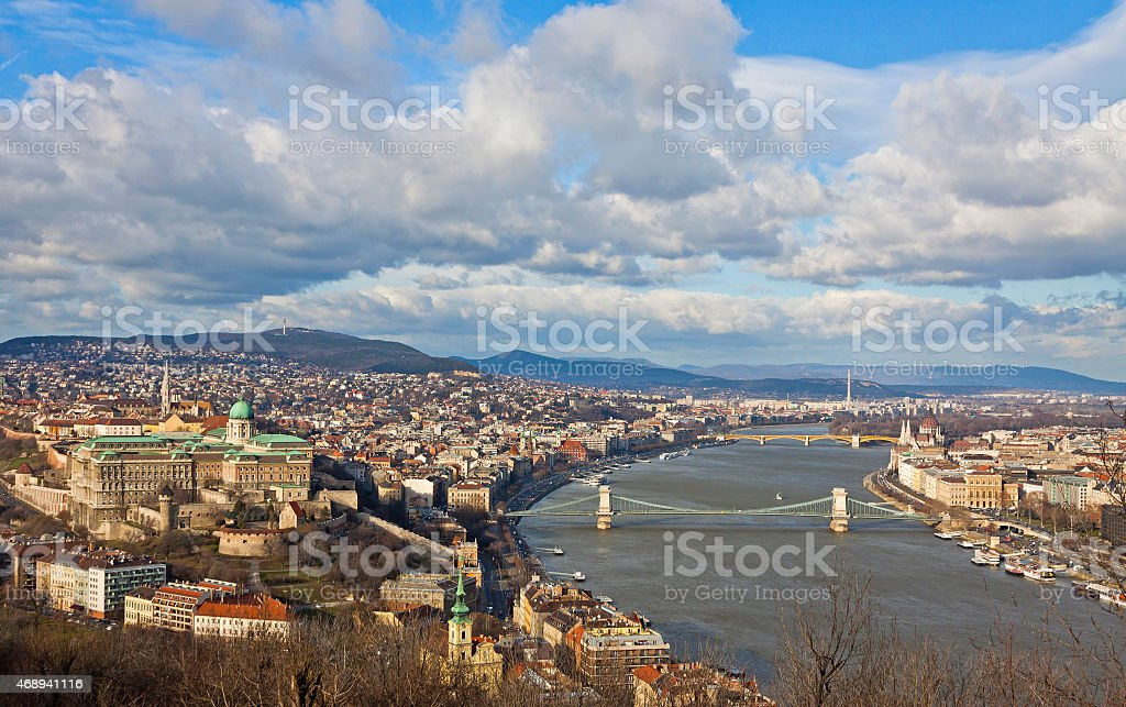 View of Buda Castle district and Danube river in Budapest stock photo
