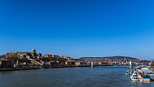 Budapest, Hungary - March 31, 2019: Panorama of Budapest on a sunny spring day viewed from Elisabeth bridge.