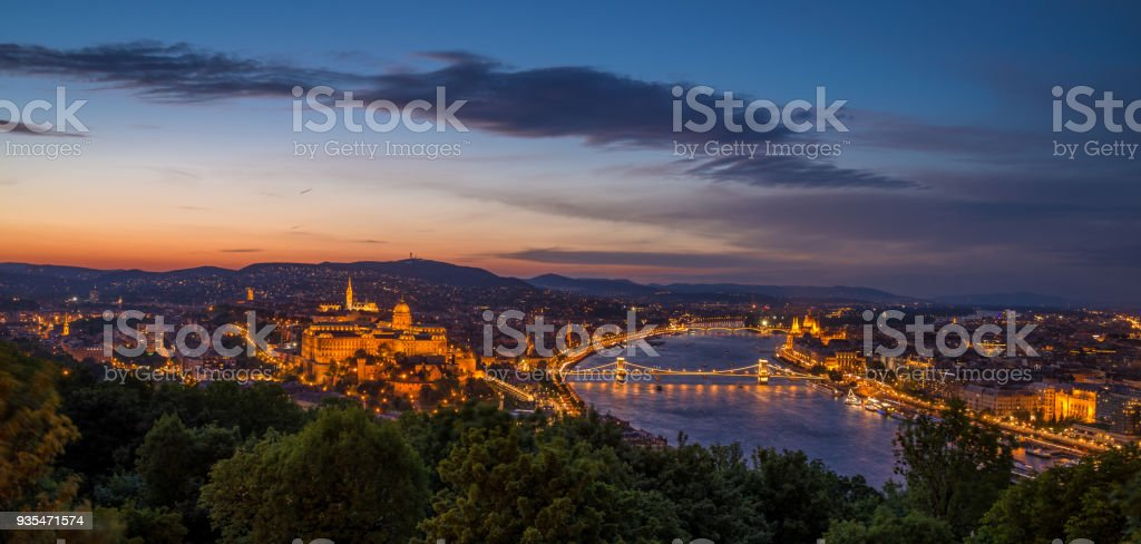 View of Budapest in Hungary at night stock photo