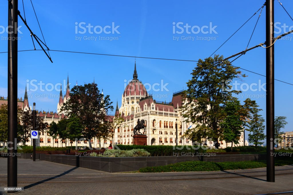 View of Budapest Parliament with blue sky from tram, Budapest, Hungary stock photo